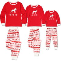 2-piece Christmas Deer and Snowflake Pattern Striped Family Matching Pj's