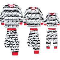 2-piece Cool GEO Pattern Contrast Top and Pants Family Matching Pj's