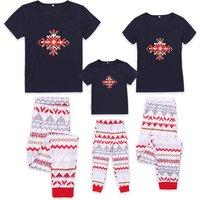 2-piece Christmas Snowflake Printed Short-sleeve Family Matching Pj's