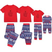 2-piece Christmas Printed Short-sleeve Family Matching Pj's