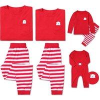 Lovely Family Pocket Bear Printed Matching Pajamas Set in Red