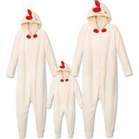 Adorable Chick Plush Family Matching Onesie Pajamas in Beige