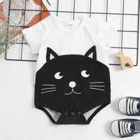 Cute Cat Print in Black Short-sleeves Bodysuit for Baby Girl