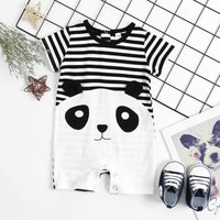 Cute Panda Print Stripes Short-sleeve Jumpsuit  for Baby Girl