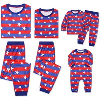 2-piece The Flag Printed Long Sleeve Family Matching Pajamas Set in Blue