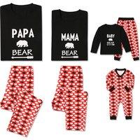 Sweet Family Bear Printed Long Sleeve Matching Pajamas Set