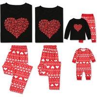 2-piece Sweet Hearts Printed Long Sleeve Family Matching Pajamas Set