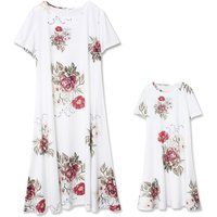 Pretty Floral Print Short-sleeve Dress in White for Mommy and Me