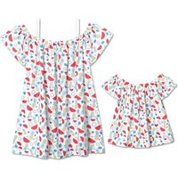Pretty Allover Printed Ruffles Off-shoulder Tee for Mom and Me