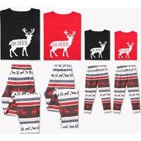 'Oh Deer' Printed Christmas Family Matching Pajamas Set