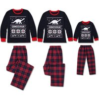 2-piece Dino Family Christmas Plaid Pajamas Set