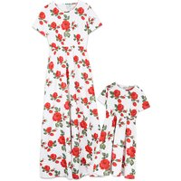 Gorgeous Rose Printed Short-sleeve Dress in White for Mom and me