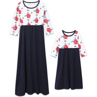 Floral Printed Chiffon Contrast Long Sleeve Dress for Mom and Me