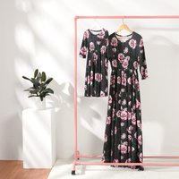 Gorgeous Floral Printed Long Sleeve Maxi Dress in Black for Mom and Me