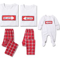 'My Love' Printed Long Sleeve Plaid Family Matching Pajamas Set