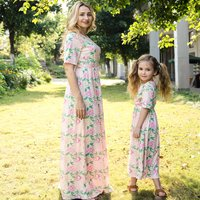 Pink Floral Print Short Sleeve Maxi Dress for Mom and Me