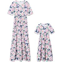Gorgeous Floral Printed Short Sleeve Maxi Dress in Navy for Mom and Me