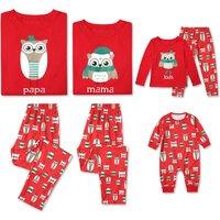 2-piece Lovely Family Owl Print Matching Pajamas Set