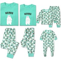 Adorable Family Bear Print Matching Pajamas Set in Green