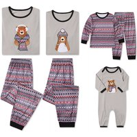 2-piece Cute Family Bear Appliques Matching Pajamas Set in Grey