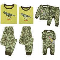 Awesome Camouflage Dinosaur Family Matching Pajamas Set in Green