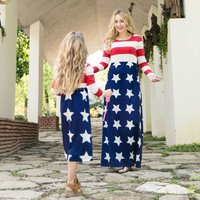 Stripes Stripes Print Long Sleeve Maxi Dress for Mom and Me