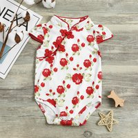 Beautiful Floral Cheongsam Bodysuit for Baby Girls
