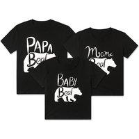 Family Bear Print Short-sleeve Matching Tee in Black