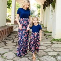 Vintage Floral Contrast Short-sleeve Maxi Dress in Navy for Mommy and Me