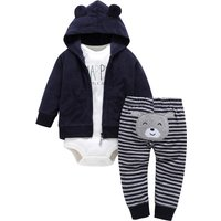 3-piece 'I'm so Happy' Bodysuit, Hooded Coat, Appliqued Bear and Stripes Pants for Baby