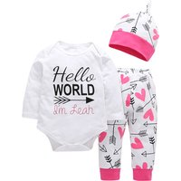 3-piece 'Hello World' Long-sleeve Bodysuit, Arrow and Heart Print Pants and Hat for Newborn/Baby Gir