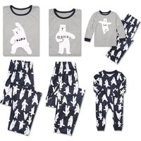 Adorable Family Yoga Bear Printed Long Sleeve Family Matching Pj's Set