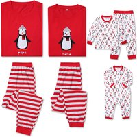 Cute Penguin Appliqued Family Matching Pajamas Set in Red