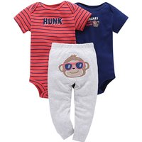 3-piece Cute Animal Appliqued Bodysuit and Pants Set