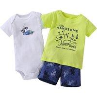Baby Boy's 3-piece Cool Printed Short-sleeve Bodysuit Set
