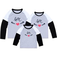 Sweet Love Printed Contrast Faux-two Long Sleeve Family Matching Tee