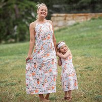 2-piece Floral Printed Sleeveless Dress and Headband Set for Mom and Me