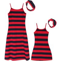 2-piece Stripes Sleeveless Dress and Headband Set in Red for Mom and Me