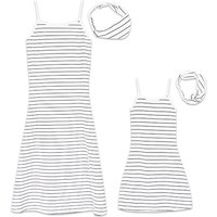 2-piece Stripes Sleeveless Dress and Headband Set in White for Mom and Me