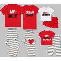 2-piece Sweet Stripes Letter Print Short-sleeve Family Matching Set in Red
