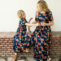 Gorgeous Rose Printed Short-sleeve Maxi Dress in Navy for Mom and Me
