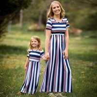 Matching Stripes Short-sleeve Maxi Dress for Mom and Me