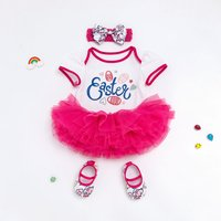 Cute EASTER Print Tulle Bodysuit with Headband and Shoes for Baby Girl