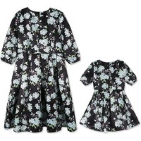 Mom and Me Vintage Floral Printed Pleated Dress