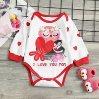 Sweet I LOVE YOU MOM Owl Printed Bodysuit for Baby