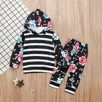 Flower Striped Hoodie and Pants Set