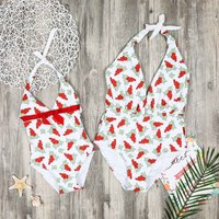 1-piece Pretty Allover Printed Halter Swimsuit for Mom and Me