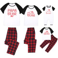The Abstract Bear Family Comfy Loungewear Plaid Matching Pajamas