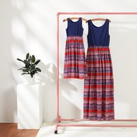 Boho Print Sleeveless Maxi Dress for Mom and Me