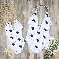 1-piece Cute Unicorn Printed Halter Swimsuit for Mom and Me